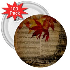 Elegant Fall Autumn Leaves Vintage Paris Eiffel Tower Landscape 3  Button (100 Pack) by chicelegantboutique