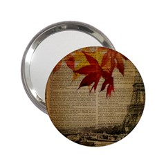 Elegant Fall Autumn Leaves Vintage Paris Eiffel Tower Landscape Handbag Mirror (2 25 )