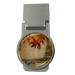 Elegant Fall Autumn Leaves Vintage Paris Eiffel Tower Landscape Money Clip (round) by chicelegantboutique