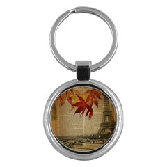 Elegant Fall Autumn Leaves Vintage Paris Eiffel Tower Landscape Key Chain (round) by chicelegantboutique
