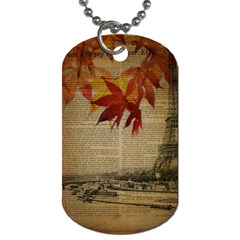 Elegant Fall Autumn Leaves Vintage Paris Eiffel Tower Landscape Dog Tag (one Sided) by chicelegantboutique