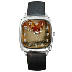 Elegant Fall Autumn Leaves Vintage Paris Eiffel Tower Landscape Square Leather Watch by chicelegantboutique
