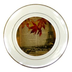 Elegant Fall Autumn Leaves Vintage Paris Eiffel Tower Landscape Porcelain Display Plate by chicelegantboutique