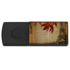 Elegant Fall Autumn Leaves Vintage Paris Eiffel Tower Landscape 4gb Usb Flash Drive (rectangle) by chicelegantboutique