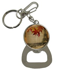 Elegant Fall Autumn Leaves Vintage Paris Eiffel Tower Landscape Bottle Opener Key Chain by chicelegantboutique