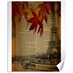 Elegant Fall Autumn Leaves Vintage Paris Eiffel Tower Landscape Canvas 16  X 20  (unframed) by chicelegantboutique