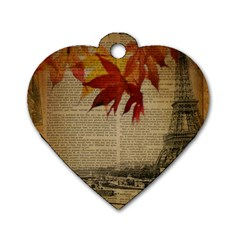 Elegant Fall Autumn Leaves Vintage Paris Eiffel Tower Landscape Dog Tag Heart (two Sided) by chicelegantboutique