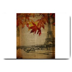 Elegant Fall Autumn Leaves Vintage Paris Eiffel Tower Landscape Large Door Mat by chicelegantboutique