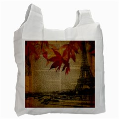 Elegant Fall Autumn Leaves Vintage Paris Eiffel Tower Landscape Recycle Bag (two Sides) by chicelegantboutique