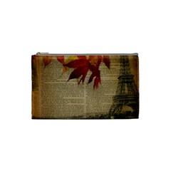 Elegant Fall Autumn Leaves Vintage Paris Eiffel Tower Landscape Cosmetic Bag (small) by chicelegantboutique