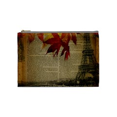 Elegant Fall Autumn Leaves Vintage Paris Eiffel Tower Landscape Cosmetic Bag (medium) by chicelegantboutique