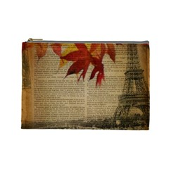 Elegant Fall Autumn Leaves Vintage Paris Eiffel Tower Landscape Cosmetic Bag (large) by chicelegantboutique
