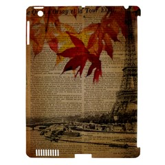 Elegant Fall Autumn Leaves Vintage Paris Eiffel Tower Landscape Apple Ipad 3/4 Hardshell Case (compatible With Smart Cover) by chicelegantboutique