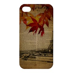Elegant Fall Autumn Leaves Vintage Paris Eiffel Tower Landscape Apple Iphone 4/4s Premium Hardshell Case by chicelegantboutique