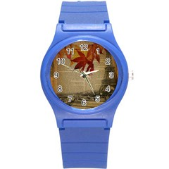 Elegant Fall Autumn Leaves Vintage Paris Eiffel Tower Landscape Plastic Sport Watch (small) by chicelegantboutique