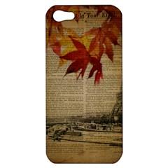 Elegant Fall Autumn Leaves Vintage Paris Eiffel Tower Landscape Apple Iphone 5 Hardshell Case by chicelegantboutique