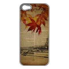 Elegant Fall Autumn Leaves Vintage Paris Eiffel Tower Landscape Apple Iphone 5 Case (silver) by chicelegantboutique