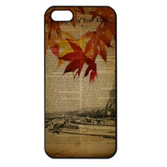 Elegant Fall Autumn Leaves Vintage Paris Eiffel Tower Landscape Apple Iphone 5 Seamless Case (black) by chicelegantboutique