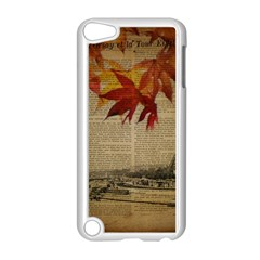 Elegant Fall Autumn Leaves Vintage Paris Eiffel Tower Landscape Apple Ipod Touch 5 Case (white)