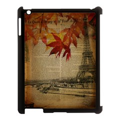 Elegant Fall Autumn Leaves Vintage Paris Eiffel Tower Landscape Apple Ipad 3/4 Case (black) by chicelegantboutique