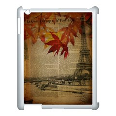 Elegant Fall Autumn Leaves Vintage Paris Eiffel Tower Landscape Apple Ipad 3/4 Case (white) by chicelegantboutique