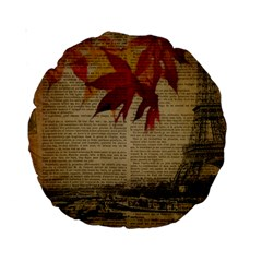 Elegant Fall Autumn Leaves Vintage Paris Eiffel Tower Landscape 15  Premium Round Cushion  by chicelegantboutique