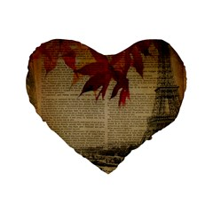 Elegant Fall Autumn Leaves Vintage Paris Eiffel Tower Landscape 16  Premium Heart Shape Cushion  by chicelegantboutique