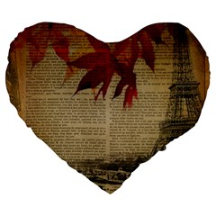 Elegant Fall Autumn Leaves Vintage Paris Eiffel Tower Landscape 19  Premium Heart Shape Cushion by chicelegantboutique
