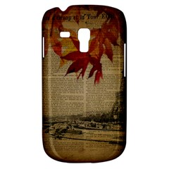 Elegant Fall Autumn Leaves Vintage Paris Eiffel Tower Landscape Samsung Galaxy S3 Mini I8190 Hardshell Case by chicelegantboutique
