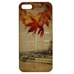Elegant Fall Autumn Leaves Vintage Paris Eiffel Tower Landscape Apple Iphone 5 Hardshell Case With Stand by chicelegantboutique
