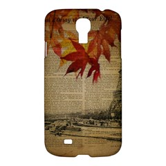 Elegant Fall Autumn Leaves Vintage Paris Eiffel Tower Landscape Samsung Galaxy S4 I9500/i9505 Hardshell Case