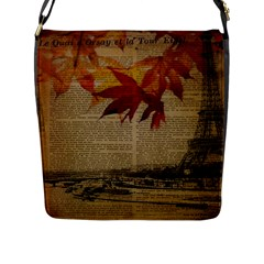 Elegant Fall Autumn Leaves Vintage Paris Eiffel Tower Landscape Flap Closure Messenger Bag (large) by chicelegantboutique