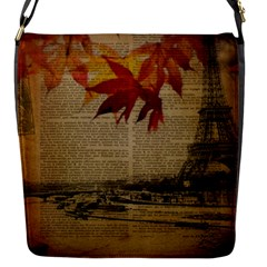 Elegant Fall Autumn Leaves Vintage Paris Eiffel Tower Landscape Flap Closure Messenger Bag (small) by chicelegantboutique