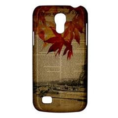 Elegant Fall Autumn Leaves Vintage Paris Eiffel Tower Landscape Samsung Galaxy S4 Mini Hardshell Case  by chicelegantboutique