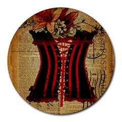 Black Red Corset Vintage Lily Floral Shabby Chic French Art 8  Mouse Pad (round) by chicelegantboutique