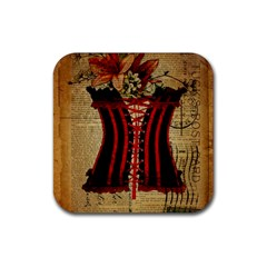 Black Red Corset Vintage Lily Floral Shabby Chic French Art Drink Coaster (square) by chicelegantboutique