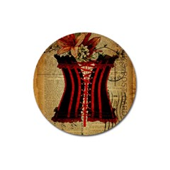 Black Red Corset Vintage Lily Floral Shabby Chic French Art Magnet 3  (round) by chicelegantboutique