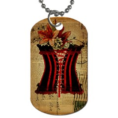 Black Red Corset Vintage Lily Floral Shabby Chic French Art Dog Tag (two Sided)  by chicelegantboutique