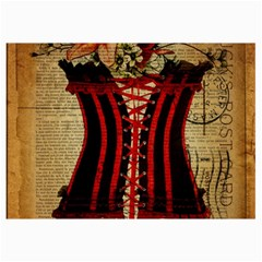 Black Red Corset Vintage Lily Floral Shabby Chic French Art Canvas 12  X 18  (unframed) by chicelegantboutique