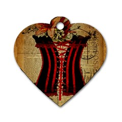 Black Red Corset Vintage Lily Floral Shabby Chic French Art Dog Tag Heart (two Sided) by chicelegantboutique