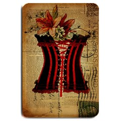 Black Red Corset Vintage Lily Floral Shabby Chic French Art Large Door Mat by chicelegantboutique