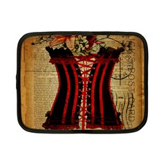 Black Red Corset Vintage Lily Floral Shabby Chic French Art Netbook Case (small) by chicelegantboutique