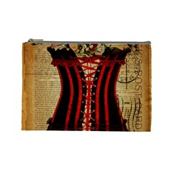 Black Red Corset Vintage Lily Floral Shabby Chic French Art Cosmetic Bag (Large) by chicelegantboutique