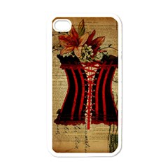 Black Red Corset Vintage Lily Floral Shabby Chic French Art Apple Iphone 4 Case (white) by chicelegantboutique