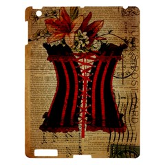 Black Red Corset Vintage Lily Floral Shabby Chic French Art Apple Ipad 3/4 Hardshell Case by chicelegantboutique
