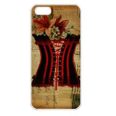 Black Red Corset Vintage Lily Floral Shabby Chic French Art Apple Iphone 5 Seamless Case (white) by chicelegantboutique