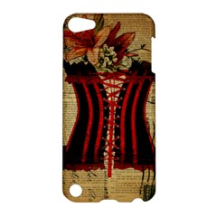 Black Red Corset Vintage Lily Floral Shabby Chic French Art Apple Ipod Touch 5 Hardshell Case by chicelegantboutique