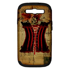 Black Red Corset Vintage Lily Floral Shabby Chic French Art Samsung Galaxy S Iii Hardshell Case (pc+silicone) by chicelegantboutique