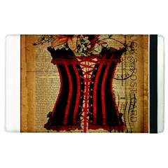 Black Red Corset Vintage Lily Floral Shabby Chic French Art Apple Ipad 2 Flip Case by chicelegantboutique