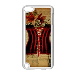 Black Red Corset Vintage Lily Floral Shabby Chic French Art Apple Ipod Touch 5 Case (white) by chicelegantboutique